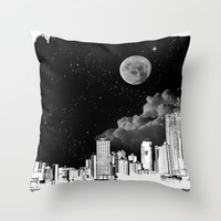 The city at night.. Throw Pillow by ADIDA FALLEN ANGEL