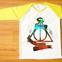 Galaxy Deathly Hallows T-Shirt Harry Potter T-Shirt Yellow Sleeve Tee Shirt Women T-Shirt Men T-Shirt Unisex T-Shirt Baseball T-Shirt S,M,L