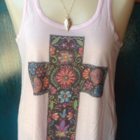 Pink with Mexican Cross women's Tank