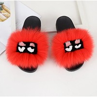 FENDI Classic Hot Sale Fur Women Multicolor Slipper Flats Shoes Red
