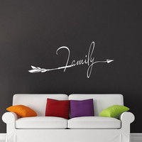Family Wall Decal Boho Arrows Decals Family Vinyl Lettering Sayings Stickers Home Bedroom Boho Decor T141