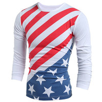 Vogue Brand Clothing Slimming Casual Round Neck American Flag Print Color Block Long Sleeves T-Shirt For Men
