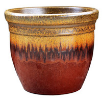 Shop Garden Treasures 13-in x 12.2-in Red/Gold Ceramic Planter at Lowe's