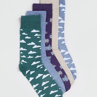 CLOUD AND LEAF MOTIF 5 PACK SOCKS - Exclusives - Clothing