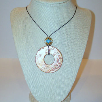 Essential Oil Diffuser Necklace Handmade Aromatherapy Clay Pendant with Blue Stone Accent Black Hemp Cord Necklace OOAK Artisan Jewelry