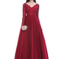 [US$ 147.49] Ball-Gown V-neck Floor-Length Tulle Prom Dress With Beading Sequins - JJsHouse