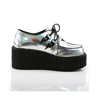 Demonia Silver Lightning Strikes Holographic Rave Creeper Shoes