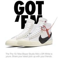 Nike The 10: Nike Blazer Studio Mid x Off-White (Size 10.5, AA3832-100) Virgil