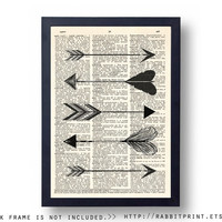 Aztec Arrow Dictionary Art Print, Tribal Wall Art Print, 8x10 Home Wall Decor, Sign, Decal, Vintage illustration Poster