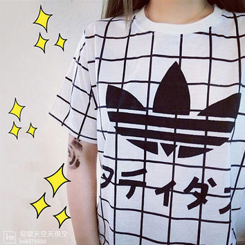 Japanese Print Japanese Clothing T-Shirt Adidas Kawaii Tumblr Grid Casual Women Tee Japanese Harajuku Zipper Printing Loose Short-Sleeved