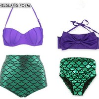 Mother Daughter Swimwear Mermaid Mom and Daughter Swimsuits Mommy and Me Bikini Family Matching Clothes Family Look Outfits