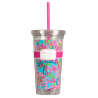 Lilly Pulitzer Beverage Tumbler with Straw Trippin & Sippin