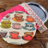 Teacups  Illustration Fabric Pocket Mirror, Cosmetic Mirror, Makeup Mirror, Gifts for Women, Fabric Covered Mirror, Mothers Day Gift