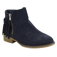 Women's Oscarr-11 Fringe Zipped Flat Ankle Booties