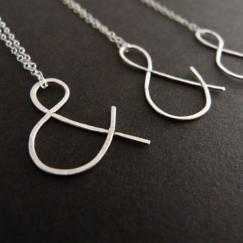 Ampersand Necklace Bridal Set Jewelry Sterling Silver Pendant Hand Forged
