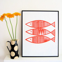 Hand Pulled Scandinavian Fish Screen Print by Jane Foster Limited Edition