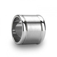 SERENO 20mm Flat Brushed Finish Center Tungsten Ring with Polished Edges