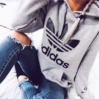 "Gray ""Adidas"" Print Hooded Pullover Tops Sweater Sweatshirts"