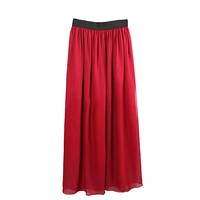 Hot Sales Casual Retro Women Double Layer Chiffon Pleated Elastic Waist Skirt