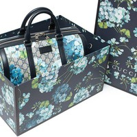 DCCKUG3 Gucci Blue Small gg Blooms Blossom Duffle Bag Canvas Boston Bag Authentic New