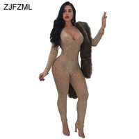 ZJFZML Shiny Rhinestone Sexy Bodycon Jumpsuit Women Perspective Full Sleeve Skinny Romper Mesh V-Neck Back Zipper Long Overall