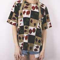 Vintage Neutral Abstract Autumn Leaves Blouse