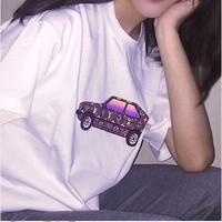 LV Car Fashion Women Men Shirt Top White