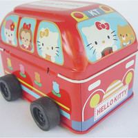 Hello Kitty Bus Red Sanrio Tin Can Toy Car by VillaCollezione