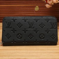 Louis Vuitton LV Women Shopping Fashion Leather Zipper Wallet Purse Black