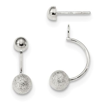 Sterling Silver Polished Laser-cut Removeable Front Back Dangle Earrings QE13313