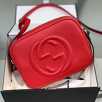 GG solid color sewing thread alphabet zipper cosmetic bag lady messenger bag Red