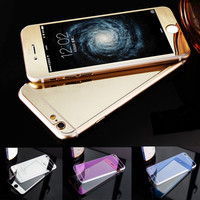 For iPhone 5S Pelicula Full Coverage Glass Front Back Colorful Plating Mirror Tempered Glass For iPhone 5S 6 6S Screen Protector