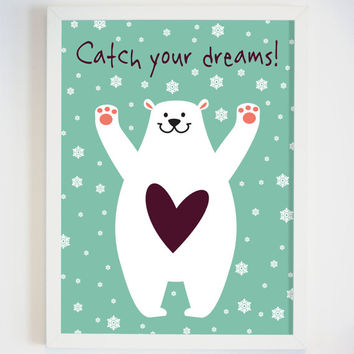 "White Bear Wall Art for Nursery - Bear Print - Kids Wall Art ""CATCH YOUR DREAMS"" - Playroom Wall Decor - Pediatric Office Decor –"