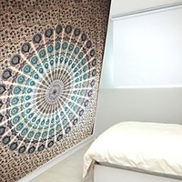 Indian Peacock Mandala Tapestry ,Indian Wall Hanging ,Hippie Indian Tapestry,bohemian Wall Hanging,queen Bedspread Throw Dorm, Room Ethnic Wall Decoration By Multimate Collection