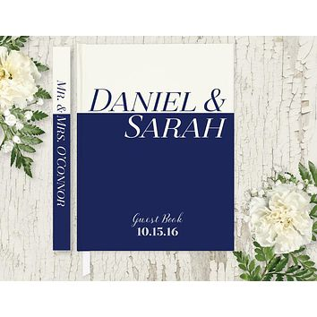 Wedding Guest Book, Hardcover, Navy and Ivory, Choice of Colors and Sizes