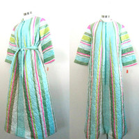 Vintage Striped Aline Quilted Robe Lisanne New Deadstock Large Size Mid Century Mod Loungewear