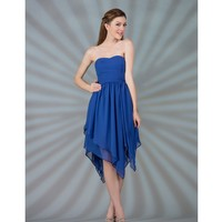 SALE! 2013 Prom Dresses- Royal Strapless Chiffon Knee-Length Dress