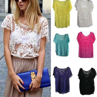 Women Sheer Short Sleeve Embroidery Floral Lace Crochet Tee T-Shirt Top Blouse