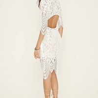 Cutout-Back Floral Lace Dress