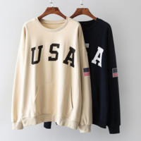 Women's Long Sleeve USA Printed Loose Sweater Pullovers