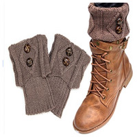 Cute Dual Button Vintage Khaki Brown Boot Toppers, Boot Cuffs, Women's Accessories