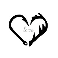 Hook and Antler Love Decal/ Iron on/ Shirt/ Vinyl