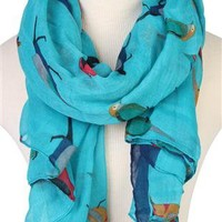 blue scarf with multi color bird print - debshops.com