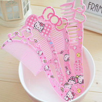 1Pc Cute Girls Hair Brush Hello Kitty Pink Comb for Girls Kids Hair Combs Lady's Comfortable Touch Beauty Makeup Cosmetics