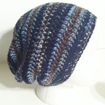 Slouchy Crochet Hat, Unisex Beanie, Slouchy Beanie, Multicolored Mens Hat, Adult
