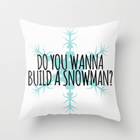 Do You Wanna Build a Snowman? Throw Pillow by Lauren Ward