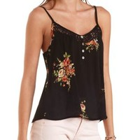 Lace-Trim Floral Swing Tank Top by Charlotte Russe - Black Combo