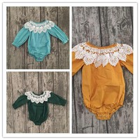 Baby Fall Rompers with Lace Trim