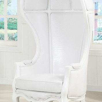 Acme 59115 Neo classic style white faux leather white wood finish hooded accent chair