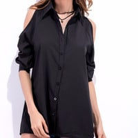Women's Black Cold Shoulder Basic Button Up White Shirt Blouse/Top